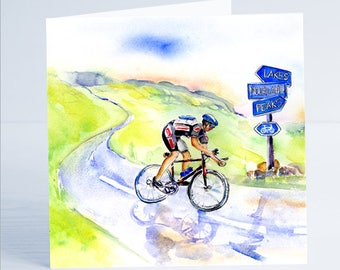 Cyclist Greeting Card - Taken from an original watercolour.