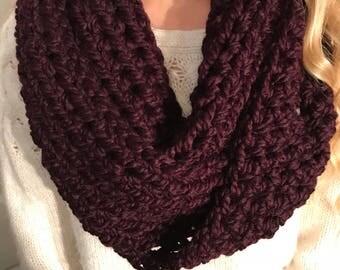 Crochet Infinity Scarf (Eggplant)