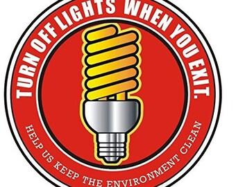 Turn Off Lights Signs - Red Aluminium-Heavy Duty (Q3)