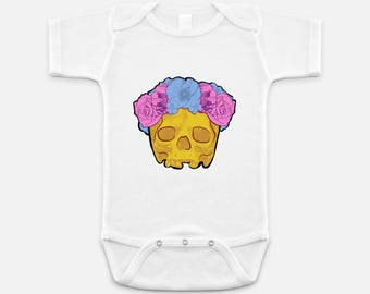 Cool Yellow Skull with Pink and Blue Flower Crown - Baby Onesie - 3-6 months - 6-12 months - 12-18 months