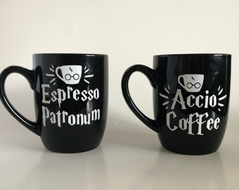Accio Coffee and Espresso Patronum Mug Set, Harry Potter Mug, Coffee Mugs, Custom Coffee Mug, Funny Coffee Mugs, Cool Coffee Mugs Coffee Mug