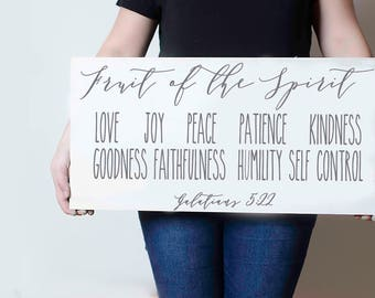 """Fruit of the spirit Galatians 5:22   12""""x24""""   wood sign   Hand Painted   home decor"""