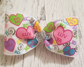 Hearts print Bow on French barrette