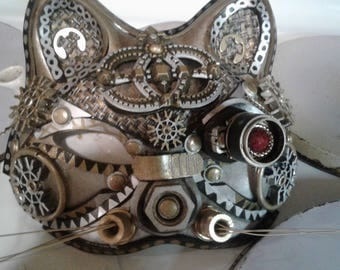 Steampunk cat mask..one of a kind original art