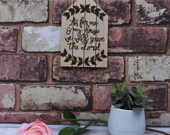 As for me and my house we will serve the lord hanging wooden sign