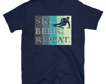 Vintage Ski Beer Repeat Funny Distressed T Shirt Gift Tee