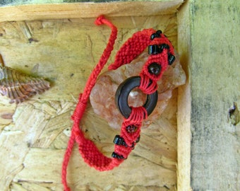 Red Hemp Cord Coconut Shell Bracelet