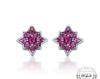 Flowers Created Ruby Stud Earrings 925 Silver