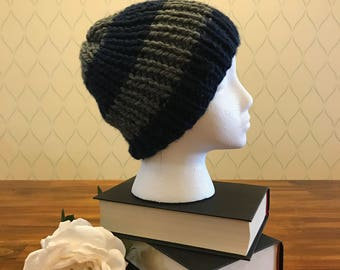 Blue and grey striped ribbed knit beanie / Free US Shipping