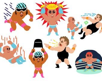 WWE WRESTLING - 50 images - wrestling stars digital svg clip art set for scrapbooking, paper crafts - fighting boxing weightlifting