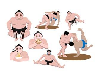 SUMO CLIPART - Sumo Wrestler clipart - sumo wrestling clip art Instant Download Japanese wrestling