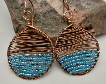 Blue Copper Beaded Earrings