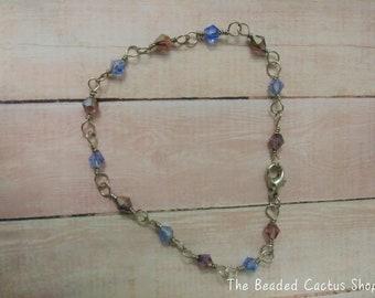 Crystal Bracelet in Mauve & Blue