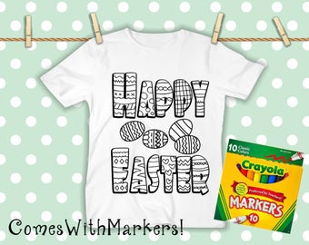 Happy Easter CHILDREN'S Coloring Shirts WITH Markers!- Easter Gift-Easter Basket- Washable Coloring shirt