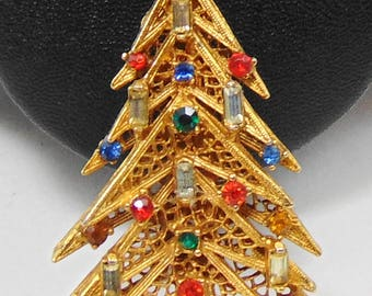 Vintage signed ART Candle Christmas Tree Brooch Pin