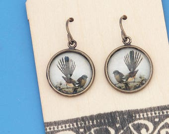 New Zealand Fantail birds, vintage art print, Earrings, glass dome art, niobium hypo-allergenic