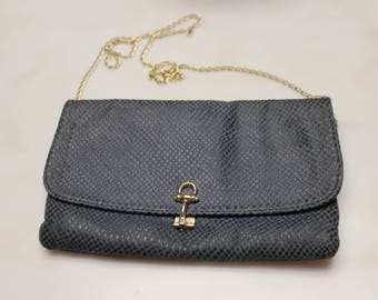 Genuine Leather Clutch Bag/Made in Italy/Gray Blue
