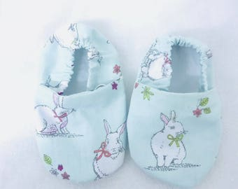Mint Bunny Print Baby Shoes