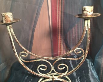 Vintage Copper double arm candleholder