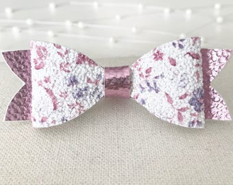 Metallic Pink and White Floral Bow||Faux Leather||Chunky Glitter||Headband Or Clip
