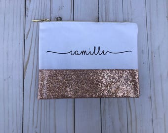 Personalized Rose Gold Glitter Canvas Makeup Bag, Rose Gold Makeup Bag, Glitter Cosmetic Pouch, Glitter Cosmetic Bag, Glitter Makeup Bag,