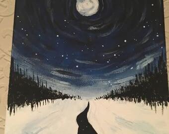 Winter sky painting