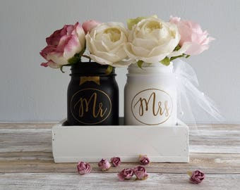 Mr and Mrs Wedding Table Decor, Rustic Table Centerpiece, Farmhouse Planter Jars, Rustic Home Decor, Farmhouse Decor, mr and mrs Table Decor