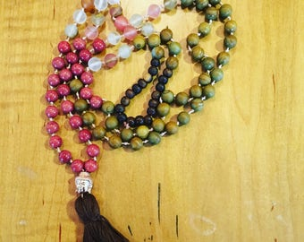 Rose/Pink and Brown Rose Gold Buddha mala Necklace