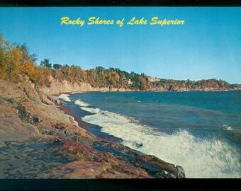 Rocky Shores Along the Circle Route of Lake Superior Oversize 6 x 9 Inch Photo Postcard