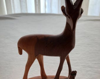 Hand carved wood Antelope