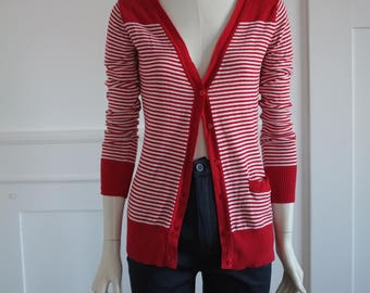 Red/white striped cardigan from the 70s