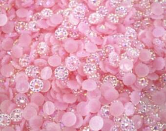 4mm Round Resin Rhinestone Flatback Jewels, Gems, cone top - Choose from 4 Colors - Aurora Borealis finish