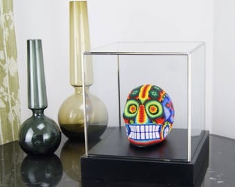 Beaded Mexican Huichol Skull in Display Case, Multicoloured Glass