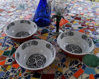 3 Enamel Bowls Mexican Skulls Original Art Work Contemporary  Design