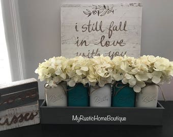 5-Piece Mason Jar Centerpiece, Mason Jar Decor, Rustic Home Decor, Rustic Decor, Mason Jar, Mason Jar Set, Hydrangeas