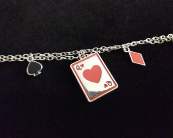 Red Queen of Hearts Playing Card Bracelet