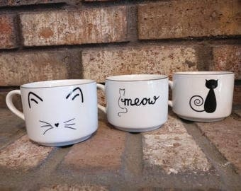 Set of 3 Cat Themed Teacups or Planters