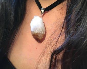 Heat treated amethyst crystal choker
