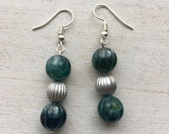 Vintage Emerald Beaded Drop Earrings