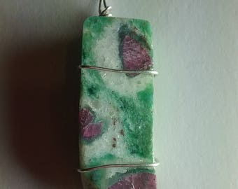 Ruby in Fuchsite Wire Wrapped Pendant