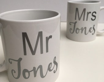 Mr and Mrs personalised mugs.