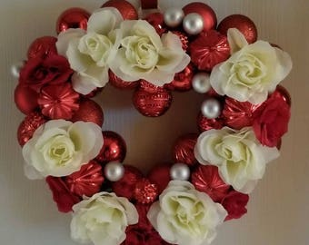 Red and White Heart Wreath