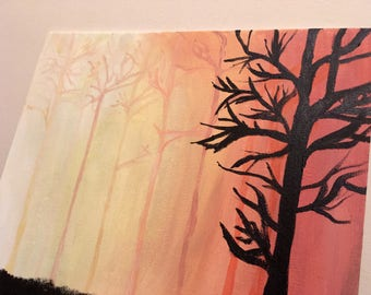 Sunset Trees Painting
