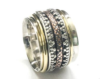Silver,Copper and Brass Spinner ring