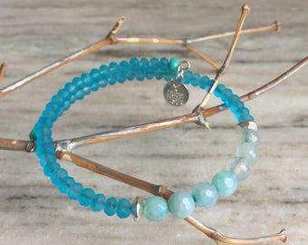 Handmade bracelet, blue beaded bracelet, agate bracelet, gifts for her