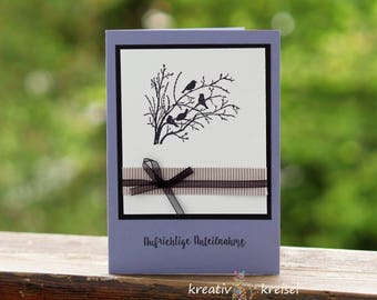 Mourning card, black birds, with fabric band, with K