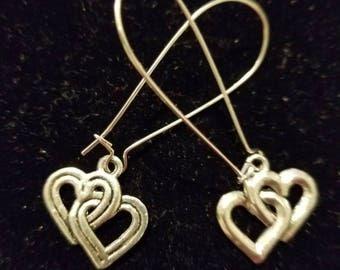 Boutique Silver Alloy ...Double Hearts Earrings #C85