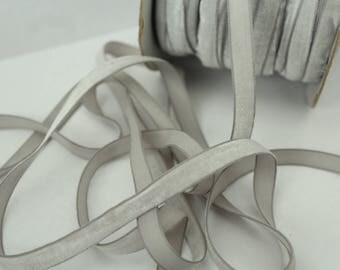 3/8 inch Silver Velveteen Ribbon by the Yard / 10 MM Velveteen Ribbon / Velvet / Silver / ER-V012