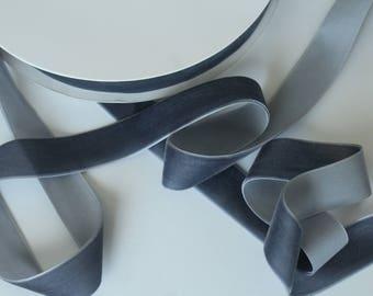 1 inch Slate Grey VELVET Ribbon by the Yard / 25 MM Velvet Ribbon / Velvet / Slate Grey / ER-VV189