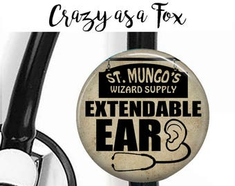 Extendable Ear Stethoscope ID Tag, St Mungo's Badge Reel, Badge Reel, Lanyard,  Nurse, RN, Doctor,  Harry Potter inspired